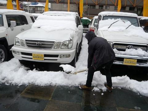 雪かき中のスタッフ
