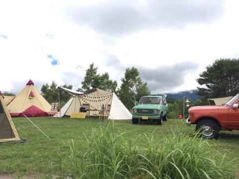 無印良品南乗鞍キャンプ場にて 最新OGAWAのテントがズラリ!OGAWA FIELD EXHIBITIONにランクルを展示させていただいてます♪♪