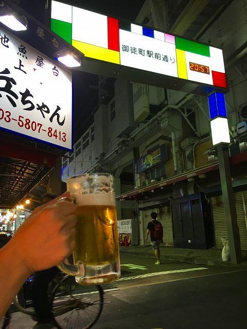 御徒町駅前通り 生ビール