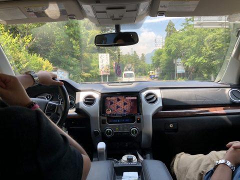 スタッフカーで渋川へ!