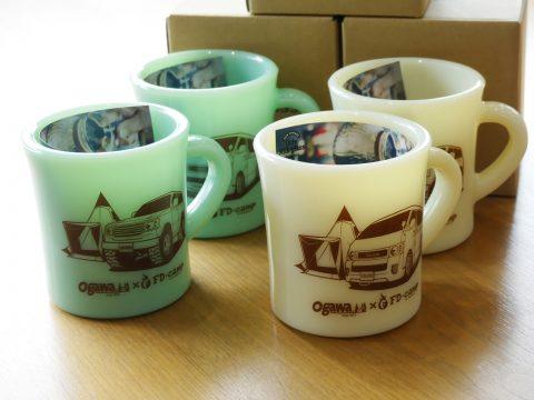 日本製ハンドメイドミルクガラスOlde Milk Glassのランクルマグカップ