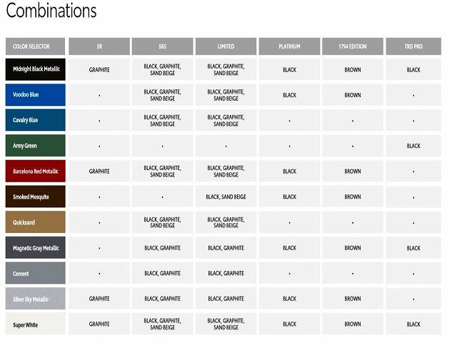 2020y TUNDRA Cement(1H5) Silver Sky Metallic(1D6) Super White(040)Smoked Mesquite(4X4) Barcelona Red Metallic(3R3) Quicksand(4V6) Magnetic Gray Metallic(1G3) Midnight Black Metallic(218) VooDoo Blue(2JV) Cavalry Blue(8W2) Army Green(6V7)